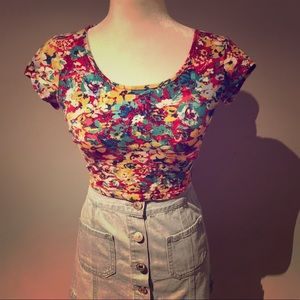 Bright Floral Crop Top with Cutouts